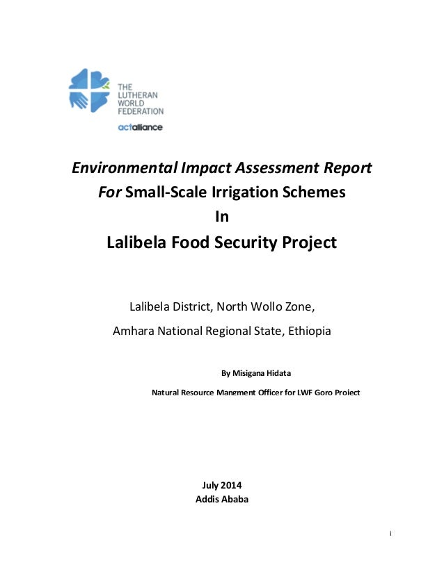 i Environmental Impact Assessment Report For Small-Scale Irrigation Schemes In Lalibela Food Security Project Lalibela Dis...