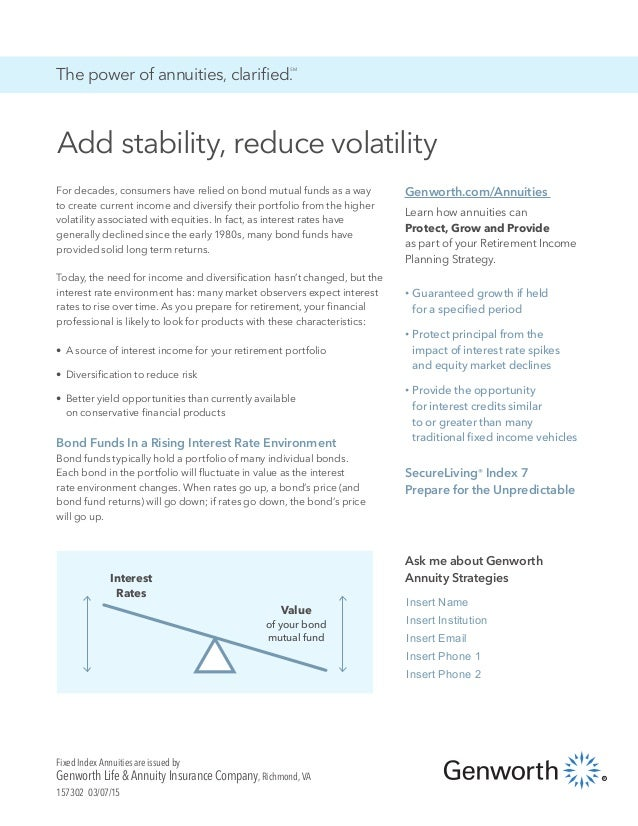 Add stability, reduce volatility The power of annuities, clarified. SM For decades, consumers have relied on bond mutual f...