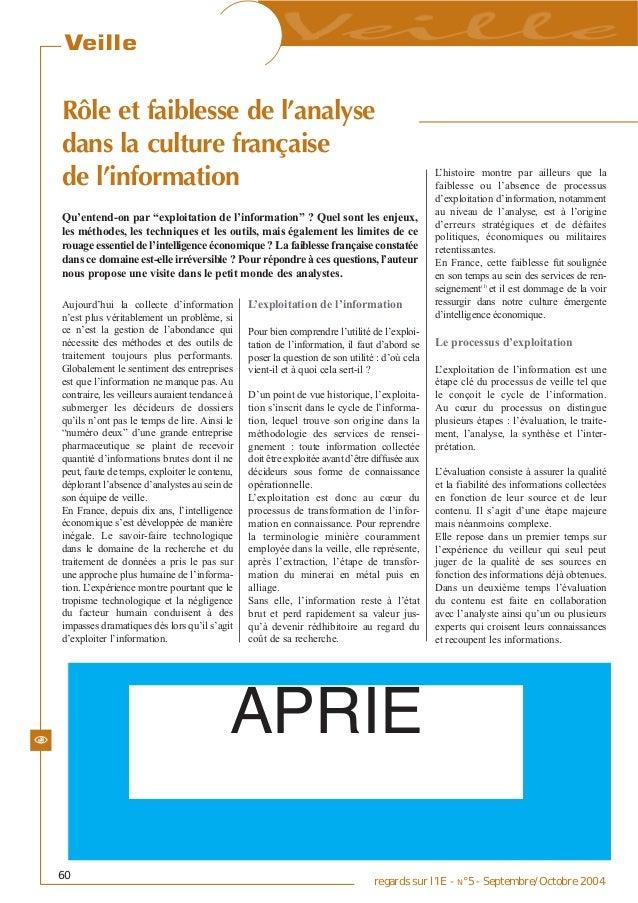 VeilleRôle et faiblesse de l'analysedans la culture françaisede l'information                                             ...