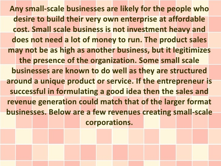 Small Scale Businesses and Profitable Ideas