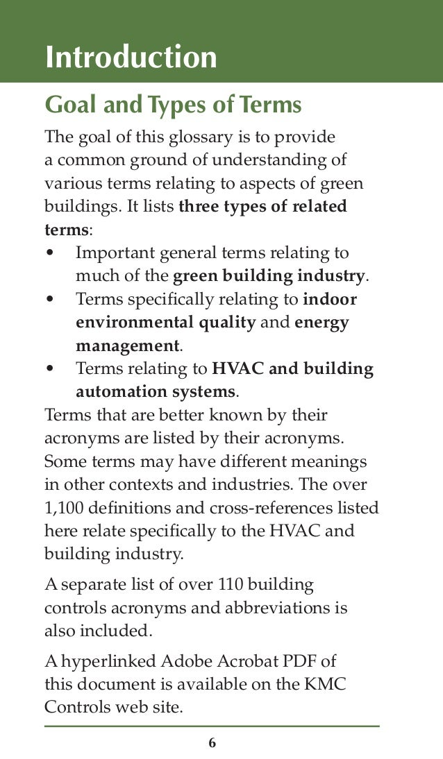 Green Building And Controls Glossary
