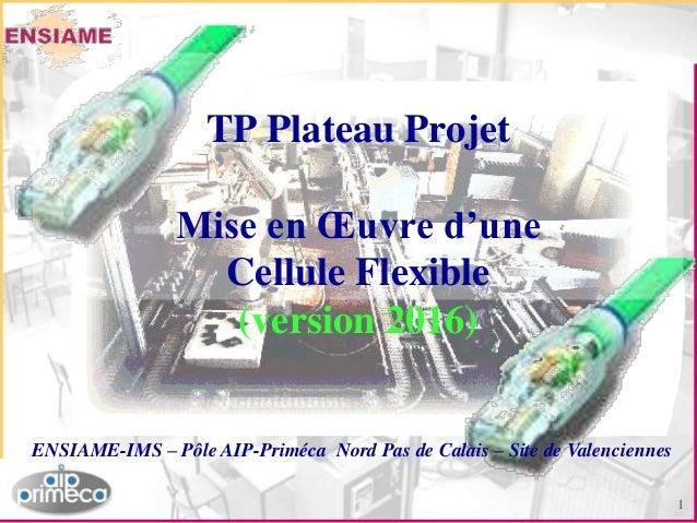 1 ENSIAME-IMS – Pôle AIP-Priméca Nord Pas de Calais – Site de Valenciennes TP Plateau Projet Mise en Œuvre d'une Cellule F...