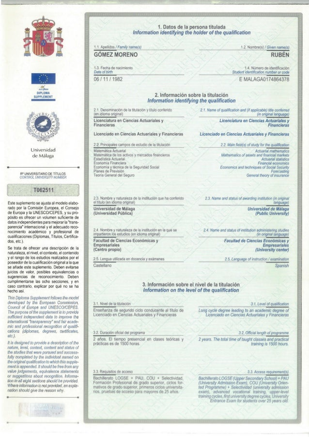 Diploma Supplement LCAF