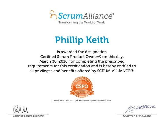 Scrumalliance Certified Scrum Product Owner Certificate March 30 2015