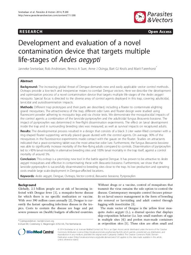 RESEARCH Open Access Development and evaluation of a novel contamination device that targets multiple life-stages of Aedes...