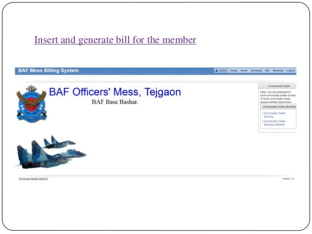 Insert and generate bill for the member