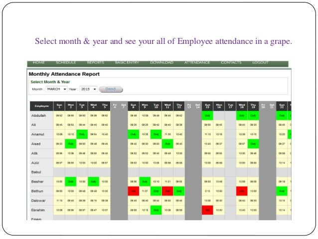 Select month & year and see your all of Employee attendance in a grape.