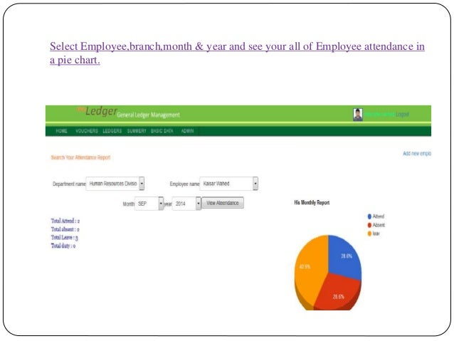 Select Employee,branch,month & year and see your all of Employee attendance in a pie chart.