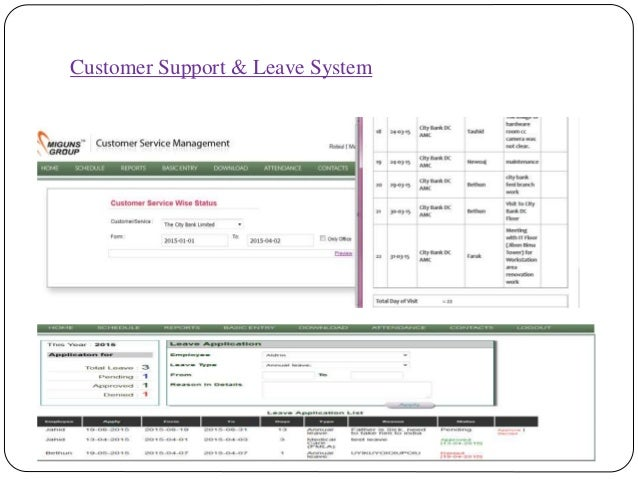 Customer Support & Leave System