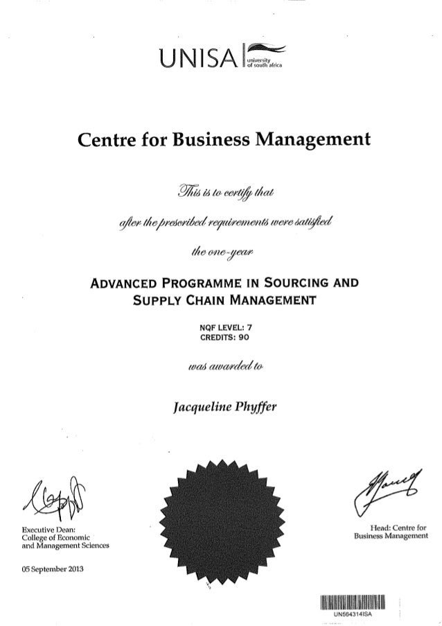 Unisa Advanced Programme In Sourcing And Supply Chain Management