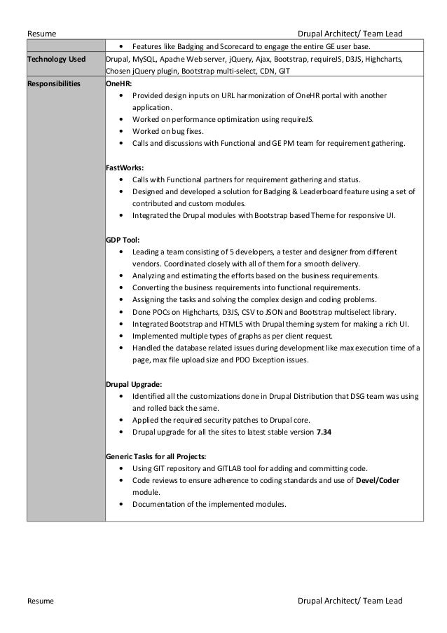 Drupal resume