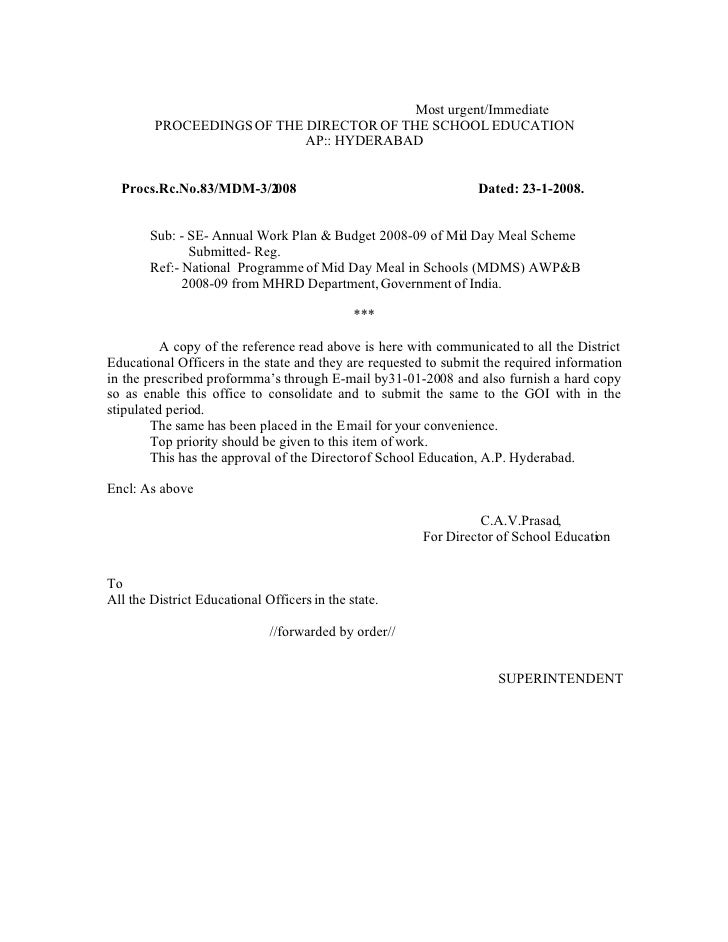 Most urgent/Immediate         PROCEEDINGS OF THE DIRECTOR OF THE SCHOOL EDUCATION                            AP:: HYDERABA...
