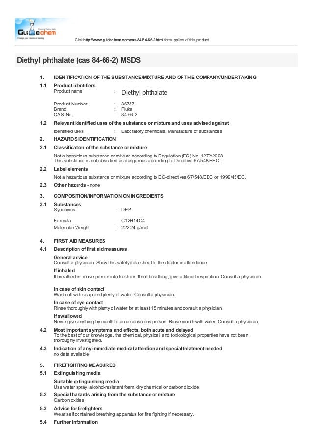 Click http://www.guidechem.com/cas-84/84-66-2.html for suppliers of this productDiethyl phthalate (cas 84-66-2) MSDS1.1.1I...