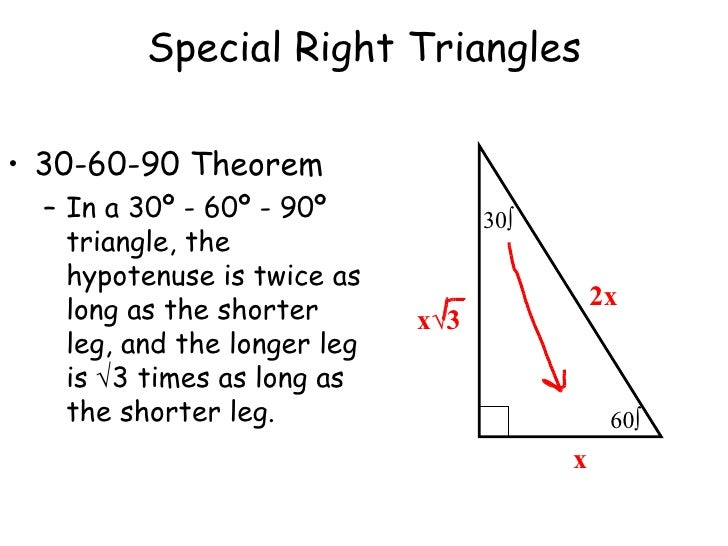 8 4 Special Rt Triangles Noted