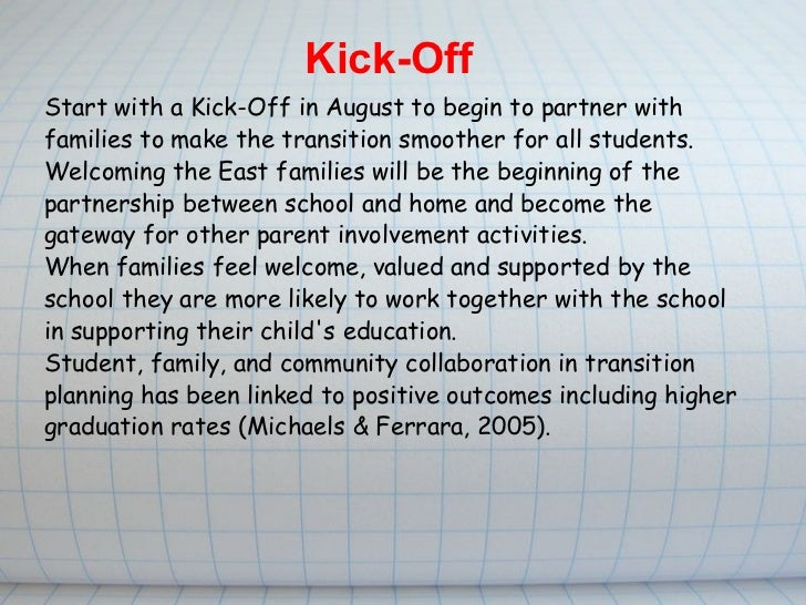 Start with a Kick-Off in August to begin to partner with families to make the transition smoother for all students. Welco...