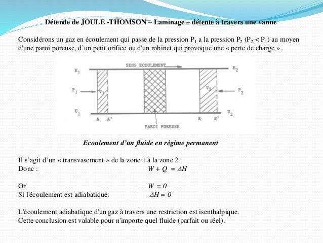 Détende de JOULE -THOMSON – Laminage – détente à travers une vanne Considérons un gaz en écoulement qui passe de la pressi...