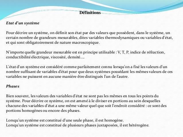 Définitions Etat d'un système Pour décrire un système, on définit son état par des valeurs que possèdent, dans le système,...