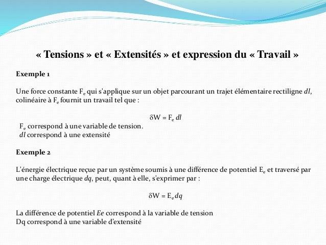 « Tensions » et « Extensités » et expression du « Travail » Exemple 1 Une force constante Fe qui s'applique sur un objet p...