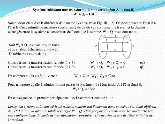 Système subissant une transformation ouverte i (état A → état B) Wi + Qi = Cst Soient deux états A et B différents d'un mê...