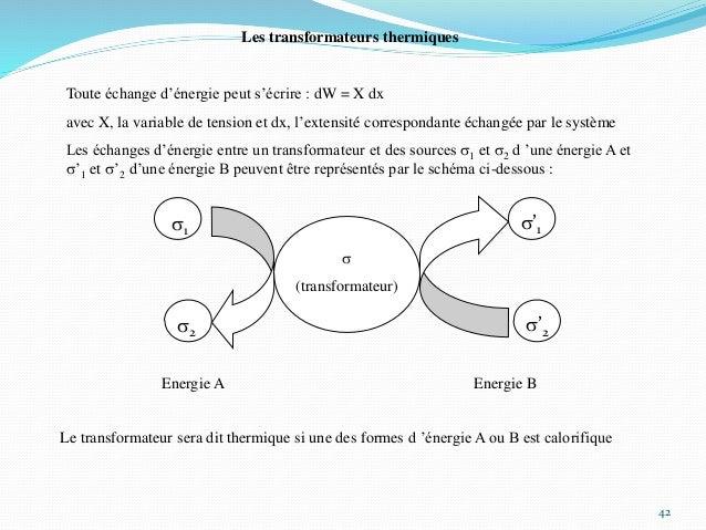 42 Les transformateurs thermiques Toute échange d'énergie peut s'écrire : dW = X dx avec X, la variable de tension et dx, ...