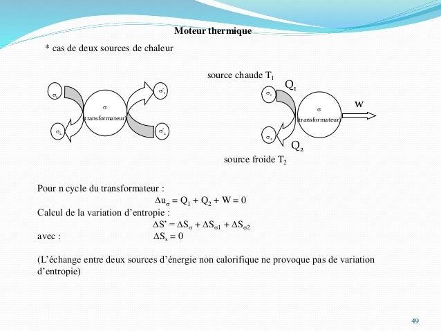 49 Moteur thermique * cas de deux sources de chaleur s1 s2 s'1 s (transformateur) s'2 s1 s (transformateur) s2 w source fr...
