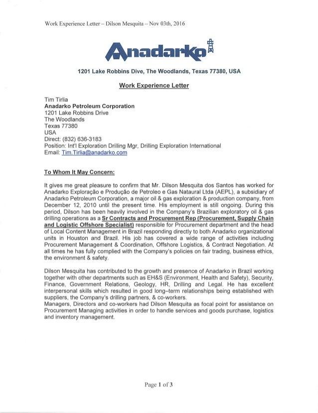 Work Experience Letter Anadarko - Tim Tirlia