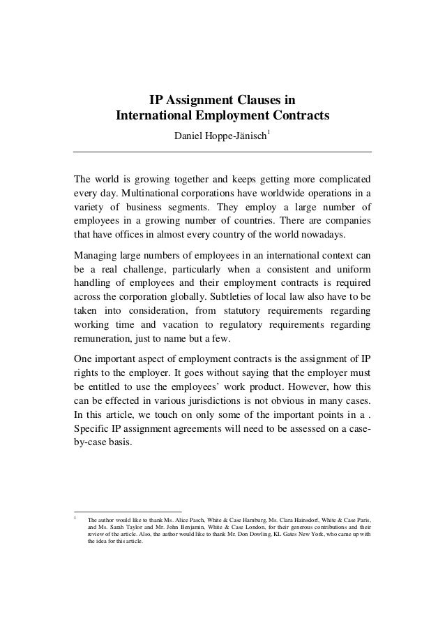 Ip Assignments In International Employment Agreements