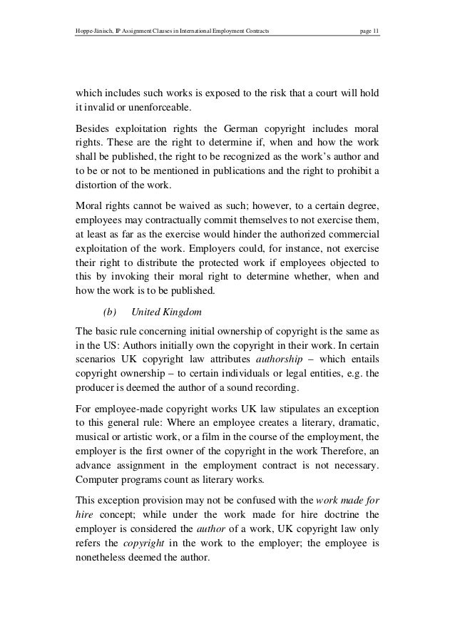An IP Clause; 11. Hoppe Jänisch, IP Assignment Clauses In International Employment  Contracts ...