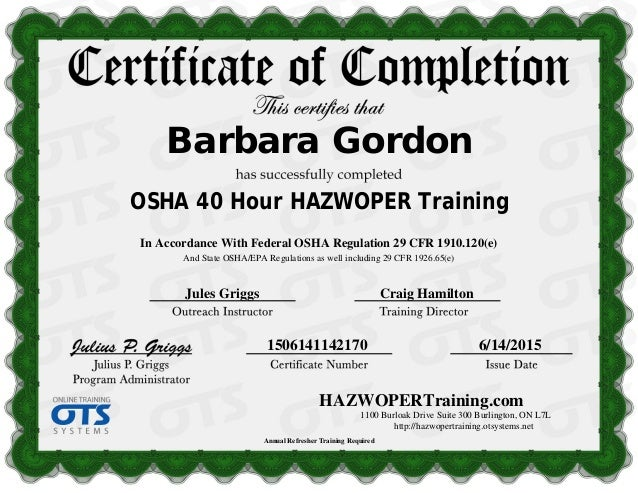 40 hour hazwoper training certificate