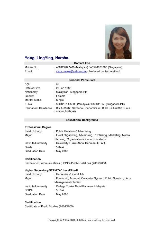 Resume 이력서 Yong Ling Ying Narsha