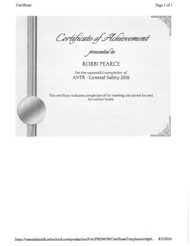 Orientation Certificates