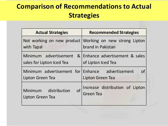 lipton marketing strategy 2, according to the symphonyiri group in chicago, lipton led the $116 billion category of tea sold in bags and loose, at $2655 million followed by bigelow, at $1177 million and private label brands, at $856 million (symphonyiri data includes outlets like supermarkets, drugstores and mass-market.