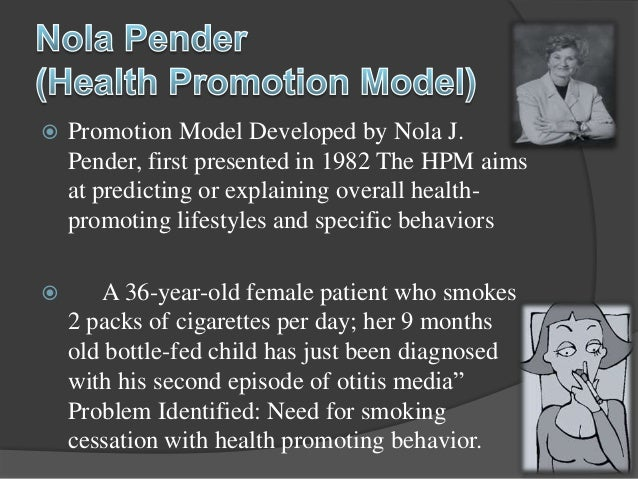 nola pender theory Application of penders theory in nursing practice nola pender states that the from nur nr 501 at chamberlain college of nursing.