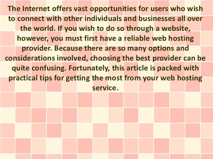 The Internet offers vast opportunities for users who wish to connect with other individuals and businesses all over     th...
