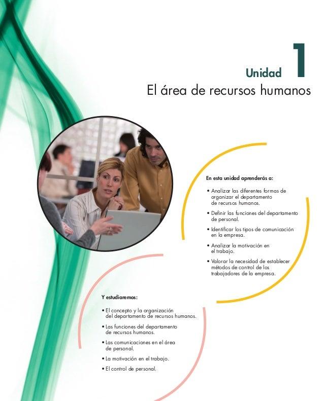 Unidad •El concepto y la organización  del departamento de recursos humanos. •Las funciones del departamento  de recur...