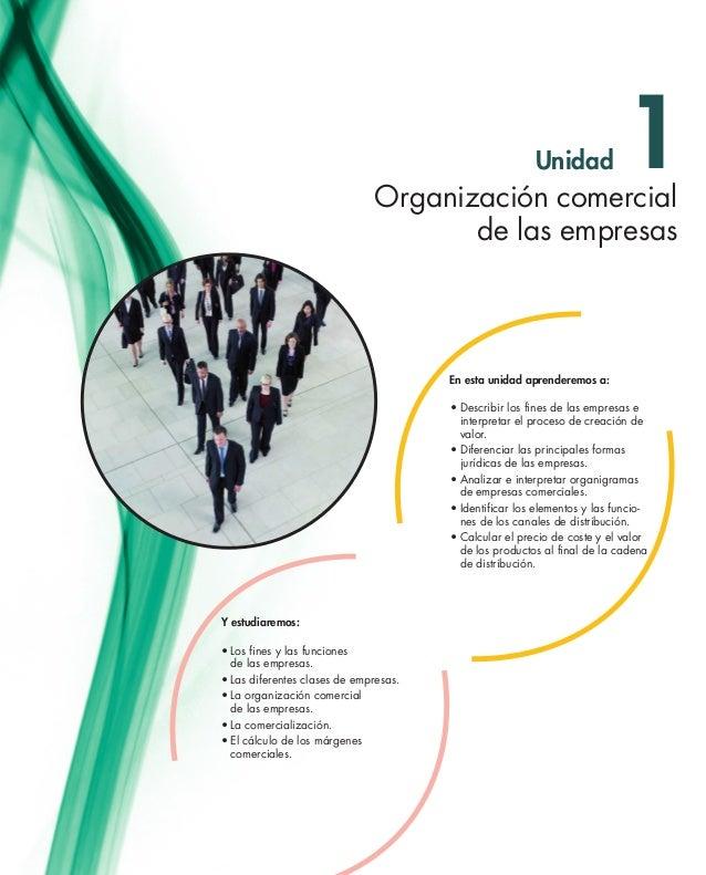Unidad  1  Organización comercial de las empresas  En esta unidad aprenderemos a: •Describir los fines de las empresas e...