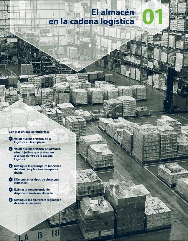 El almacénen la cadena logística 01Con esta unidad aprenderás a:Valorar laimportancia de lalogística en la empresa.Valorar...