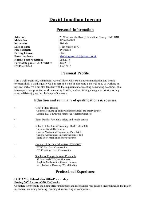 David Jonathan Ingram Personal Information Address : :20 Winchcombe Road, Carshalton, Surrey. SM5 1RB Mobile No. : 0796666...