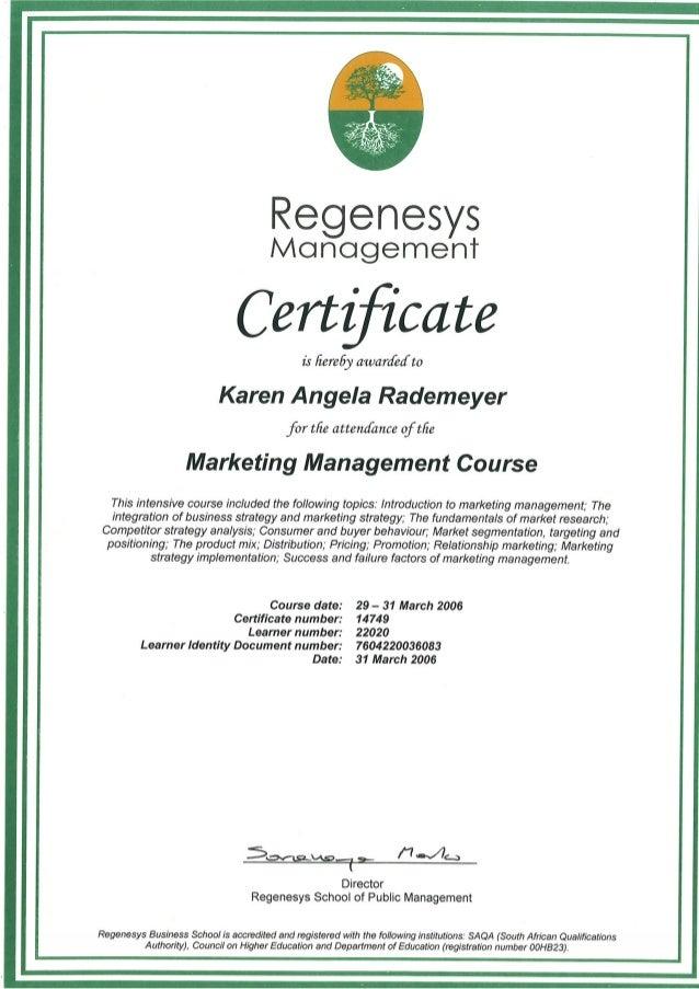 K Rademeyer Marketing Management Certificate 2006