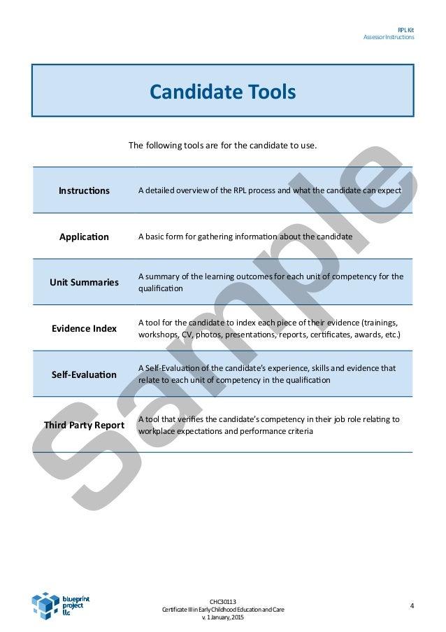 SAMPLE CHC30113 Certificate III ECE full RPL