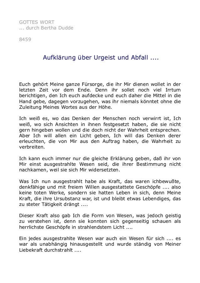 GOTTES WORT ... durch Bertha Dudde 8459 Aufklärung über Urgeist und Abfall .... Euch gehört Meine ganze Fürsorge, die ihr ...