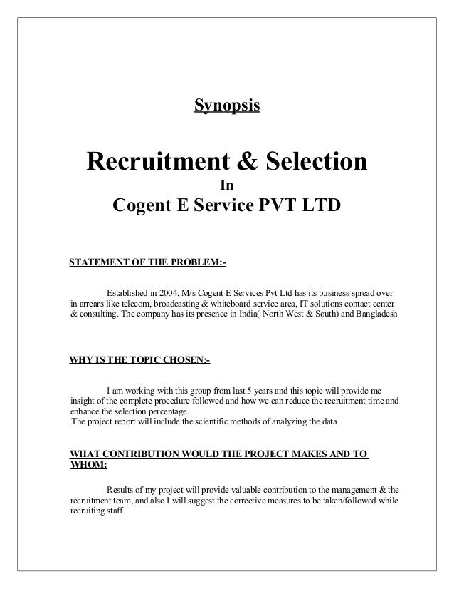 Project synopsis on recruitment and selection