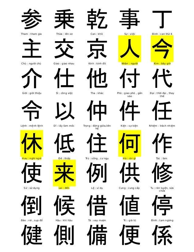参  Tham : tham gia  乗  Thừa : lên xe  乾  Can : khô  事  Sự : việc  丁  Đinh : can thứ 4  主  Chủ : người chủ  交  Giao : giao ...