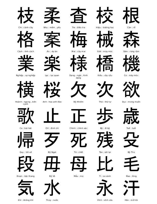 枝  Chi : cành cây  柔  Nhu : mềm , yếu  査  Tra : điều tra  校  Hiệu : trường học  根  Căn : rễ  格  Cách : tính cách  案  Án : ...
