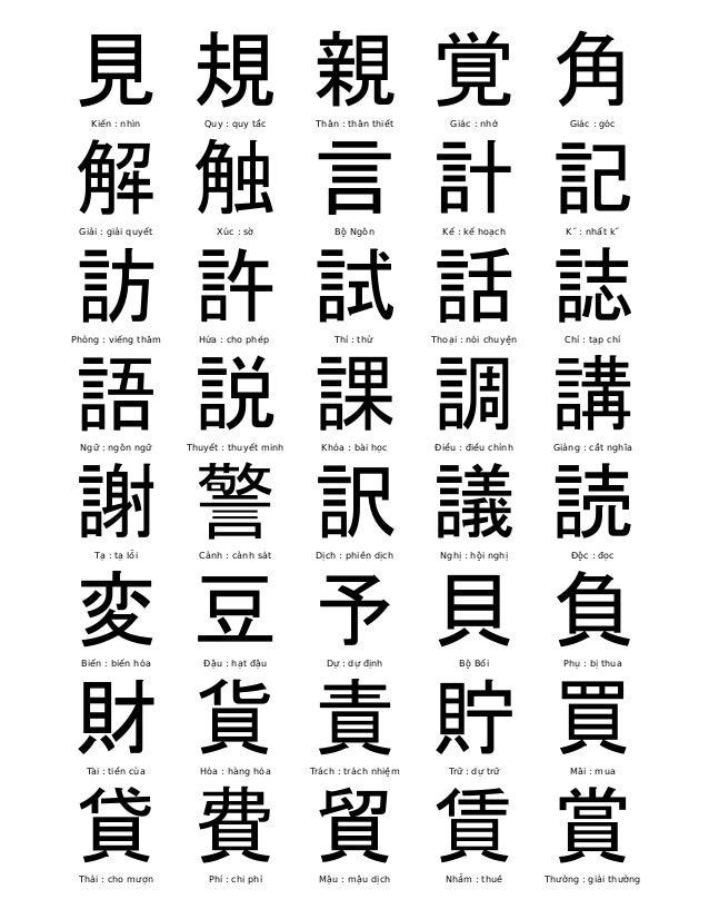 見  Kiến : nhìn  規  Quy : quy tắc  親  Thân : thân thiết  覚  Giác : nhớ  角  Giác : góc  解  Giải : giải quyết  触  Xúc : sờ  言...