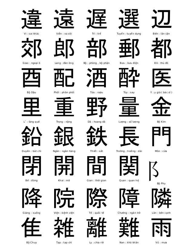 違  Vi : sai khác  遠  Viễn : xa xôi  遅  Trì : trể  選  Tuyển : tuyển dụng  辺  Biên : lân cận  郊  Giao : ngoại ô  郎  Lang : đ...