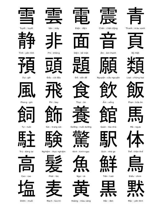 雪  Tuyết : tuyết  雲  Vân : mây  電  Điện : điện  震  Chấn : chấn động  青  Thanh : màu xanh  静  Tĩnh : yên tĩnh  非  Phi : khô...