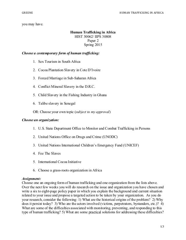 greene sample syllabus human trafficking in africa  questions 12 greene human trafficking