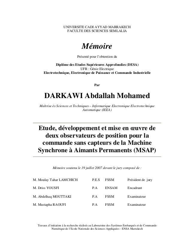 UNIVERSITE CADI AYYAD MARRAKECH FACULTE DES SCIENCES SEMLALIA Mémoire Présenté pour l'obtention du Diplôme des Etudes Supé...