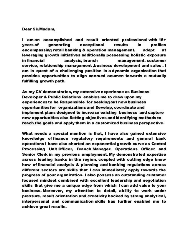 Cover Letter For Banking 2.. Dear Sir/Madam, I Am An Accomplished And  Result Oriented Professional With 16+ ...